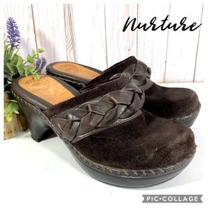 Nurture brown suede and leather boho clog 6